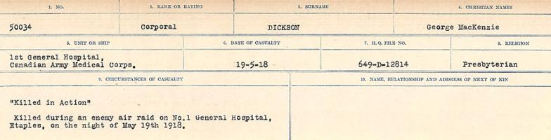 Circumstances of death registers– Source: Library and Archives Canada. CIRCUMSTANCES OF DEATH REGISTERS, FIRST WORLD WAR. Surnames: Deuel to Domoney. Microform Sequence 28; Volume Number 31829_B016737. Reference RG150, 1992-93/314, 172. Page 397 of 1084.