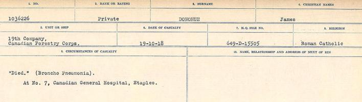 Circumstances of death registers– Source: Library and Archives Canada. CIRCUMSTANCES OF DEATH REGISTERS, FIRST WORLD WAR. Surnames: Don to Drzewiecki. Microform Sequence 29; Volume Number 31829_B016738. Reference RG150, 1992-93/314, 173. Page 181 of 1076.