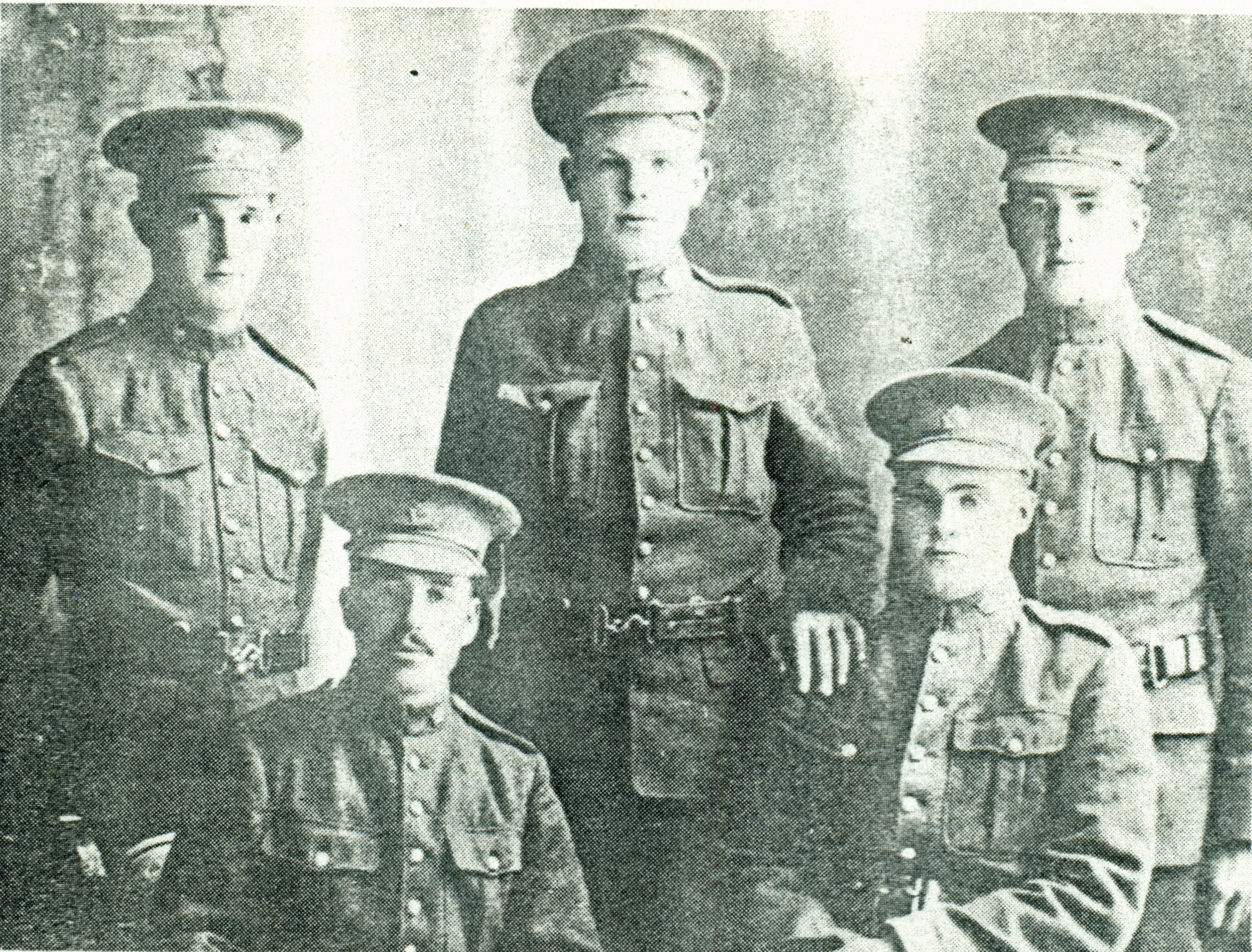 Group Photo– Pte Roy Winfield Feltis is the soldier in the back row on the right side. The photo is from History of Derby Township  1839 to 1972 published by the Township.  Others in the photo back row: Gus King, Jess Sargeant, Roy Feltis front: Eric Hilsden, George Beckett