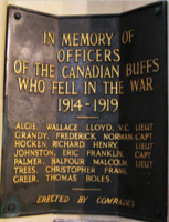 """Memorial– Canadian Buffs Memorial, Canterbury Cathedral, Canterbury, Kent """"IN MEMORY OF OFFICERS OF THE CANADIAN BUFFS WHO FELL IN THE WAR 1914-1919, ERECTED BY COMRADES"""""""