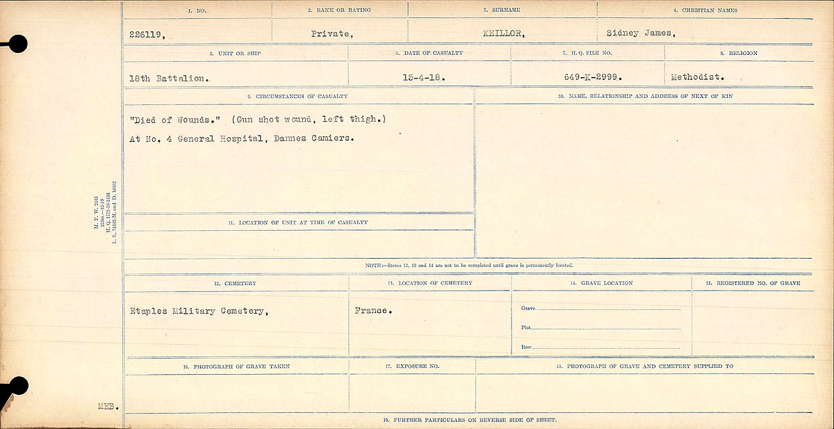 """Circumstances of Death Registers– """"Died of Wounds"""" (Gunshot wound, left thigh.) At No. 4 General Hospital, Dannes Camiers.  Contributed by E.Edwards www.18thbattalioncef.wordpress.com"""
