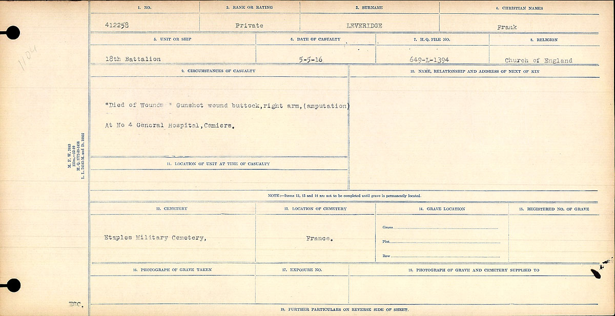 """Circumstances of Death Registers– """"Died of Wounds"""" Gunshot wound buttock, right arm, (amputation) at No. 4 General Hospital, Cemiers."""