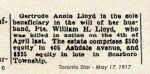 Newspaper Clipping– Sgt. William Henry Lloyd enlisted in Toronto on August 7th, 1915. Lloyd was born Marlborough, England. In honoured memory.