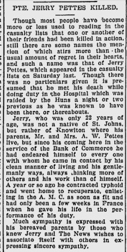 Newspaper Clipping– SOURCE:  The Magog News.  May 30, 1918.