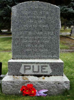 Inscription– Pue family memorial at Banff Cemetery, Banff, Alberta.  Photo taken in September 2010.