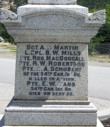 Inscription– Hedley, BC, Canada - Cenotaph Remembrance Project - Soldiers of the South Similkameen - keremeoslegion.com