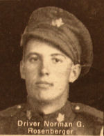 Photo of Norman George Rosenberger– In memory of the men and women from the Waterloo area who went to war and did not come home. From the booklet, Peace Souvenir – Activities of Waterloo County in the Great War 1914 – 1918. From the Toronto Public Library collection.  Submitted for the project, Operation: Picture Me.