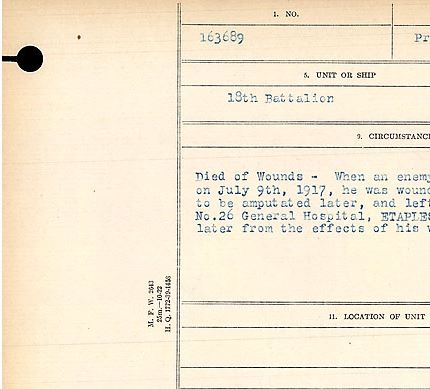 Circumstances of death registers– Circumstances of death of Private John Sills