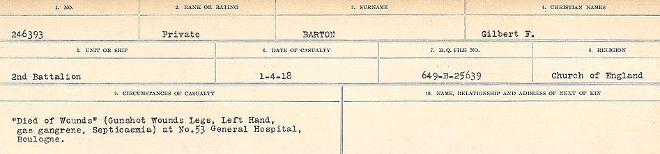 Circumstances of Death– Source: Library and Archives Canada.  CIRCUMSTANCES OF DEATH REGISTERS, FIRST WORLD WAR Surnames:  Bark to Bazinet. Mircoform Sequence 6; Volume Number 31829_B016716. Reference RG150, 1992-93/314, 150.  Page 663 of 1058.