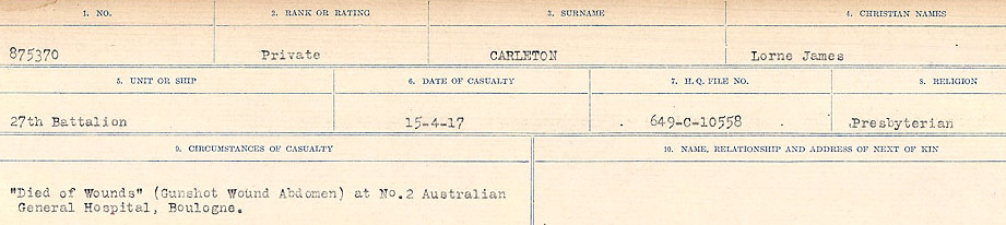 Circumstances of Death Registers– Source: Library and Archives Canada.  CIRCUMSTANCES OF DEATH REGISTERS, FIRST WORLD WAR Surnames:  Canavan to Caswell. Microform Sequence 18; Volume Number 31829_B016727. Reference RG150, 1992-93/314, 162.  Page 231 of 1004.