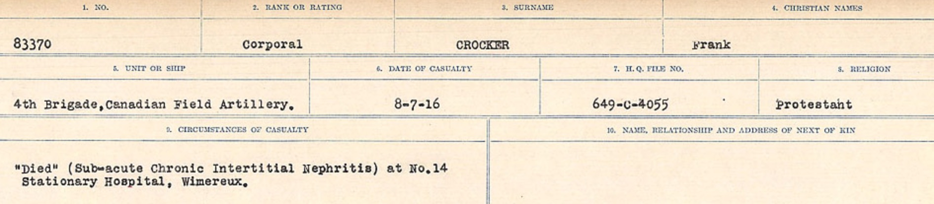 Circumstances of death registers– Source: Library and Archives Canada. CIRCUMSTANCES OF DEATH REGISTERS, FIRST WORLD WAR Surnames: CRABB TO CROSSLAND Microform Sequence 24; Volume Number 31829_B016733. Reference RG150, 1992-93/314, 168. Page 577 of 788