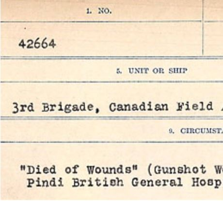 Circumstances of death registers– Source: Library and Archives Canada. CIRCUMSTANCES OF DEATH REGISTERS, FIRST WORLD WAR Surnames: CRABB TO CROSSLAND Microform Sequence 24; Volume Number 31829_B016733. Reference RG150, 1992-93/314, 168. Page 769 of 788.