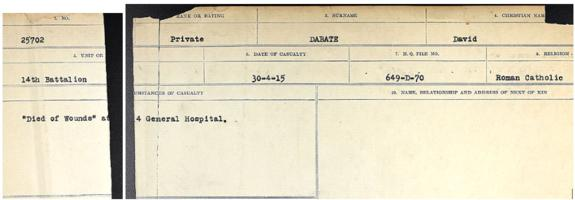 Circumstances of death registers– Source: Library and Archives Canada. CIRCUMSTANCES OF DEATH REGISTERS, FIRST WORLD WAR. Surnames: Dack to Dabate. Microform Sequence 26; Volume Number 31829_B016735. Reference RG150, 1992-93/314, 170. Page 1137 & 1139 of 1140.