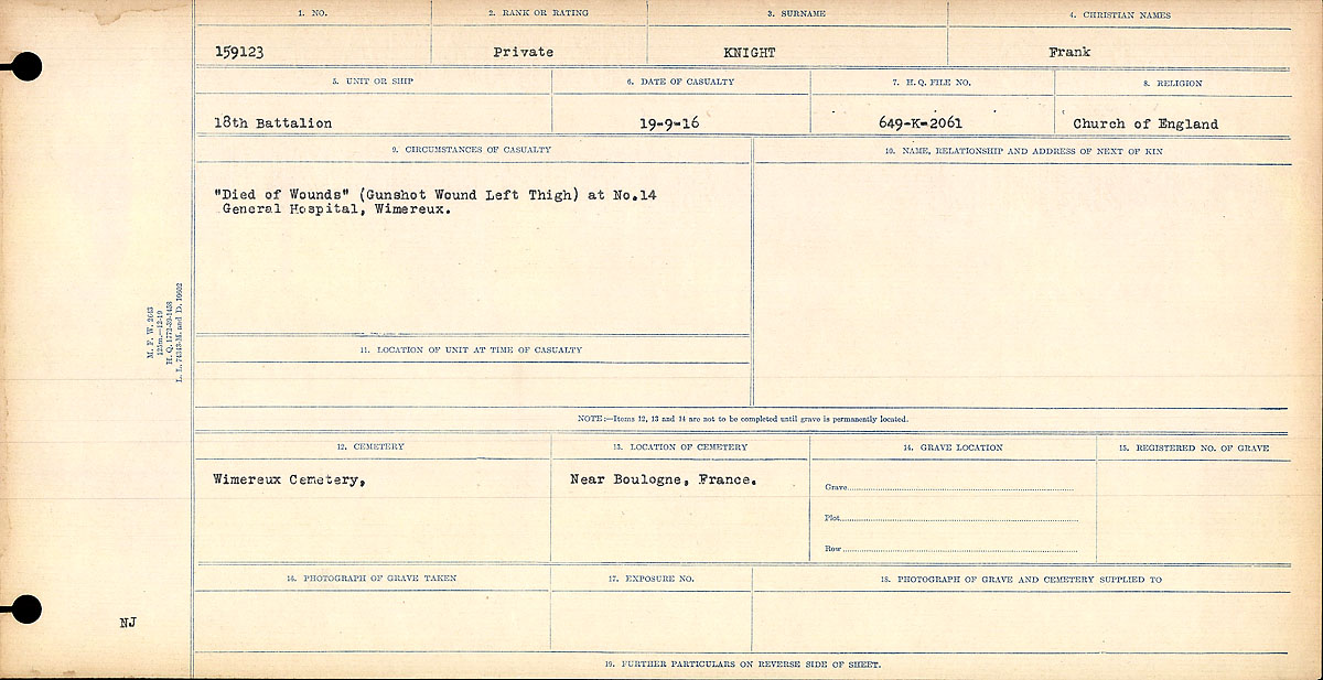 """Circumstances of Death Registers– """"Died of Wounds."""" (Gunshot Wounds Left Thigh) at No. 14 General Hospital, Wimereux."""