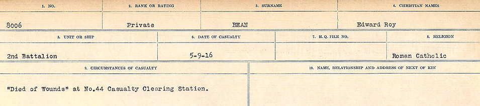Circumstances of Death– Source: Library and Archives Canada.  CIRCUMSTANCES OF DEATH REGISTERS FIRST WORLD WAR Surnames:  Bea to Belisle  Mircoform Sequence 7; Volume Number 31829_B016717. Reference RG150, 1992-93/314, 151.  Page 83 of 724.