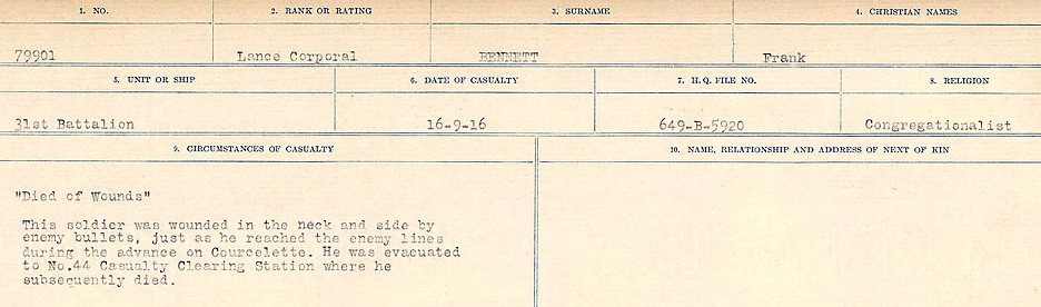 Circumstances of Death– Source: Library and Archives Canada.  CIRCUMSTANCES OF DEATH REGISTERS FIRST WORLD WAR Surnames:  Bell to Bernaquez.  Mircoform Sequence 8; Volume Number 31829_B016718; Reference RG150, 1992-93/314, 152 Page 421 of 670