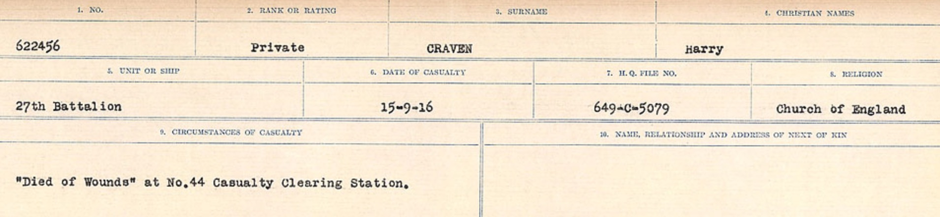 Circumstances of death registers– Source: Library and Archives Canada. CIRCUMSTANCES OF DEATH REGISTERS, FIRST WORLD WAR Surnames: CRABB TO CROSSLAND Microform Sequence 24; Volume Number 31829_B016733. Reference RG150, 1992-93/314, 168. Page 291 of 788.