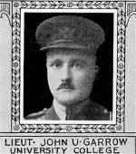 Photo of John Garrow– From: The Varsity Magazine Supplement published by The Students Administrative Council, University of Toronto 1918.   Submitted for the Soldiers' Tower Committee, University of Toronto, by Operation Picture Me.