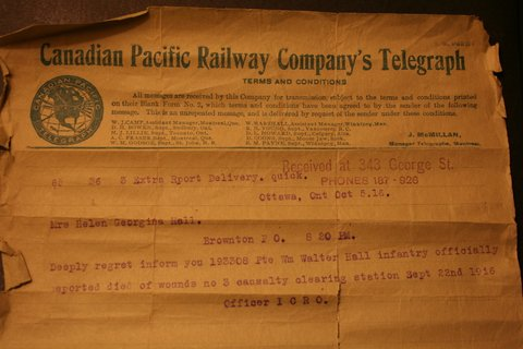 Telegram– Telegram announcing the death of Pte W.W. Hall