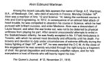 Obituary– Obituary found in Sgt Wartman's file at Queen's University Archives.