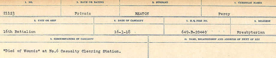 Circumstances of Death– Source: Library and Archives Canada.  CIRCUMSTANCES OF DEATH REGISTERS FIRST WORLD WAR Surnames:  Bea to Belisle. Mircoform Sequence 7; Volume Number 31829_B016717. Reference RG150, 1992-93/314, 151.  Page 185 of 724.