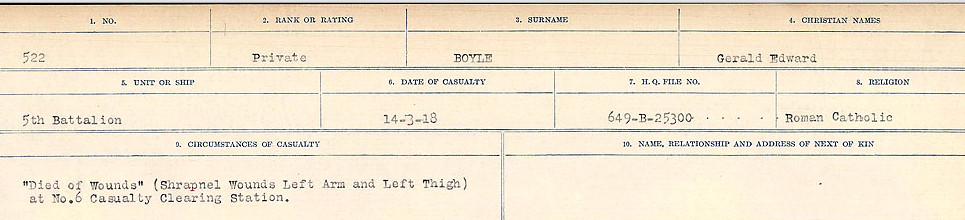 Circumstances of Death Registers– Source: Library and Archives Canada.  CIRCUMSTANCES OF DEATH REGISTERS FIRST WORLD WAR Surnames: Border to Boys. Mircoform Sequence 12; Volume Number 131829_B016721; Reference RG150, 1992-93/314, 156 Page 883 of 934.
