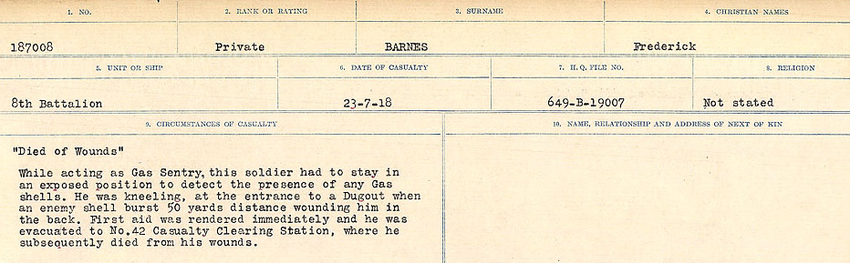 Circumstances of Death– Source: Library and Archives Canada.  CIRCUMSTANCES OF DEATH REGISTERS, FIRST WORLD WAR Surnames:  Bark to Bazinet. Mircoform Sequence 6; Volume Number 31829_B016716. Reference RG150, 1992-93/314, 150.  Page 189 of 1058.