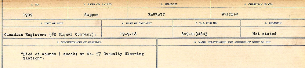 Circumstances of Death– Source: Library and Archives Canada.  CIRCUMSTANCES OF DEATH REGISTERS, FIRST WORLD WAR Surnames:  Bark to Bazinet. Mircoform Sequence 6; Volume Number 31829_B016716. Reference RG150, 1992-93/314, 150.  Page 399 of 1058.