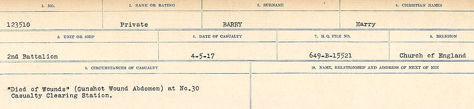 Circumstances of Death– Source: Library and Archives Canada.  CIRCUMSTANCES OF DEATH REGISTERS, FIRST WORLD WAR Surnames:  Bark to Bazinet. Mircoform Sequence 6; Volume Number 31829_B016716. Reference RG150, 1992-93/314, 150.  Page 519 of 1058.