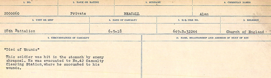 Circumstances of Death– Source: Library and Archives Canada.  CIRCUMSTANCES OF DEATH REGISTERS FIRST WORLD WAR Surnames:  Bea to Belisle  Mircoform Sequence 7; Volume Number 31829_B016717. Reference RG150, 1992-93/314, 151.  Page 3 of 724.