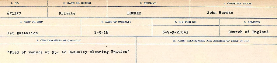 Circumstances of Death Registers– Source: Library and Archives Canada.  CIRCUMSTANCES OF DEATH REGISTERS FIRST WORLD WAR Surnames:  Bea to Belisle. Mircoform Sequence 7; Volume Number 31829_B016717. Reference RG150, 1992-93/314, 151.  Page 409 of 724.