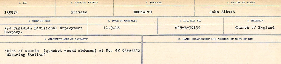Newspaper Clipping– Source: Library and Archives Canada.  CIRCUMSTANCES OF DEATH REGISTERS FIRST WORLD WAR Surnames:  Bea to Belisle. Mircoform Sequence 7; Volume Number 31829_B016717. Reference RG150, 1992-93/314, 151.  Page 463 of 724.