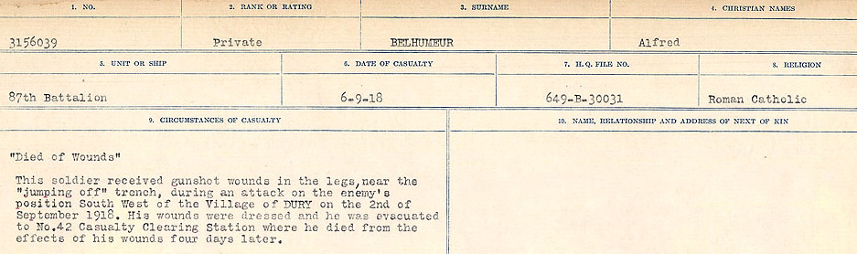 Circumstances of Death Registers– Source: Library and Archives Canada.  CIRCUMSTANCES OF DEATH REGISTERS FIRST WORLD WAR Surnames:  Bea to Belisle. Mircoform Sequence 7; Volume Number 31829_B016717. Reference RG150, 1992-93/314, 151.  Page 711 of 724.