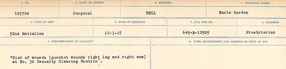 Circumstances of Death Registers– Source: Library and Archives Canada.  CIRCUMSTANCES OF DEATH REGISTERS FIRST WORLD WAR Surnames: Bernard to Binyan. Mircoform Sequence 8; Volume Number 31829_B016718; Reference RG150, 1992-93/314, 152 Page 53 of 670