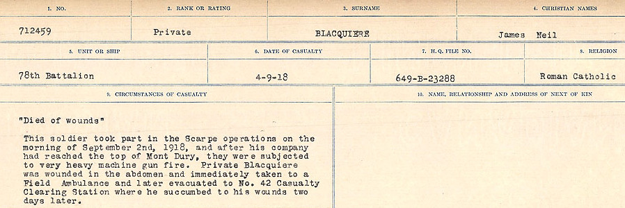 Circumstances of Death Registers– Source: Library and Archives Canada.  CIRCUMSTANCES OF DEATH REGISTERS FIRST WORLD WAR Surnames: Birch to Blakstad. Mircoform Sequence 10; Volume Number 31829_B034746; Reference RG150, 1992-93/314, 154 Page 557 of 734