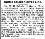 Newspaper Clipping– Winnipeg Free Press item - October 12, 1916 (pg 4) death of Pte WE Brindle of Souris, Manitoba