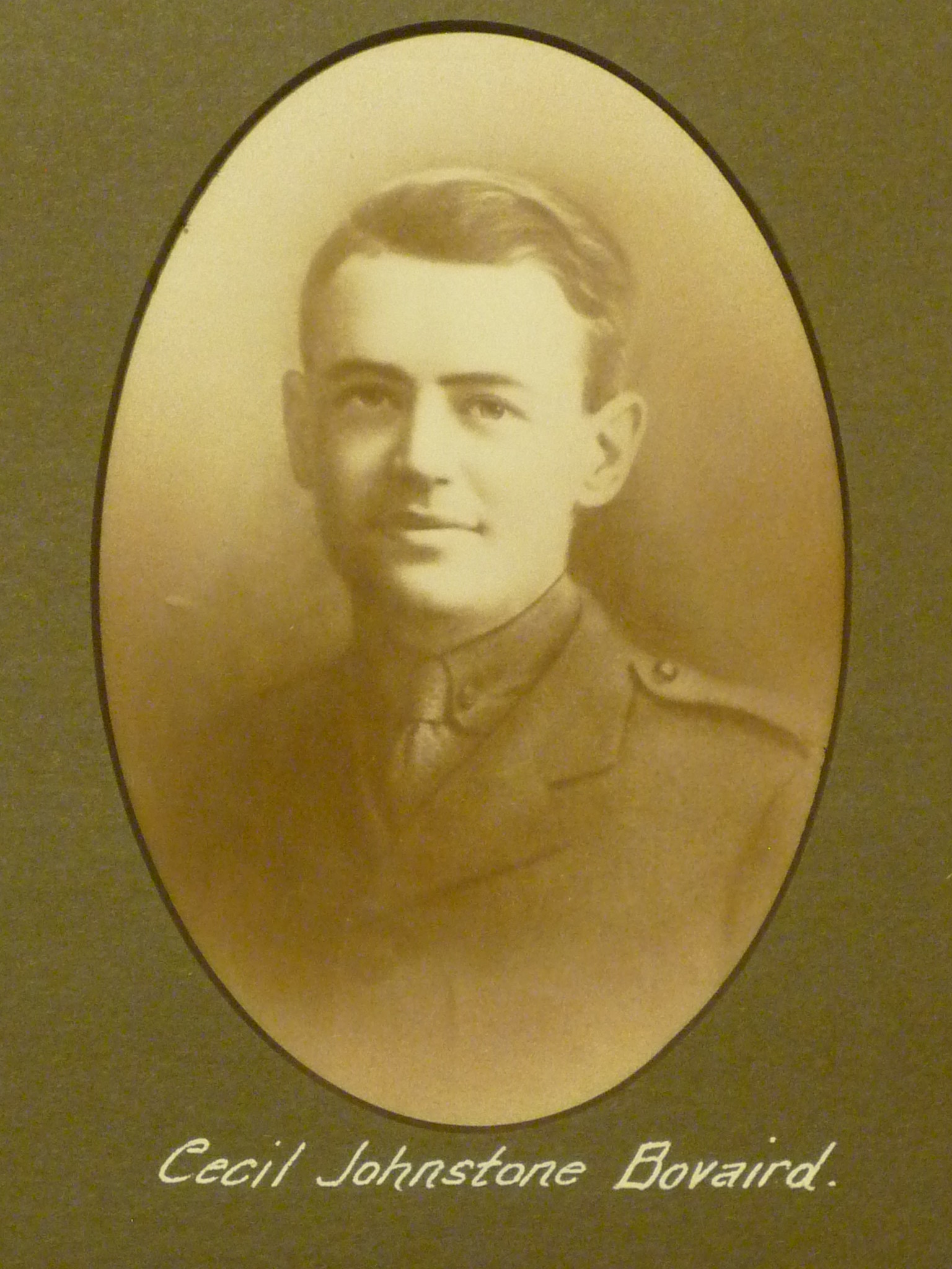 Photo of Cecil Bovaird– This image comes from a large framed tribute in St. John's Presbyterian Church, Broadview Avenue, Toronto. Ontario Canada.  He and thirty-two other men are remembered here for their service in WWI.