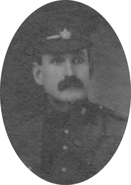 Photo of CHARLES BOWES– From a collage photo layout of members of A Company and the bugle band of the 157th Canadian Infantry Battalion.
