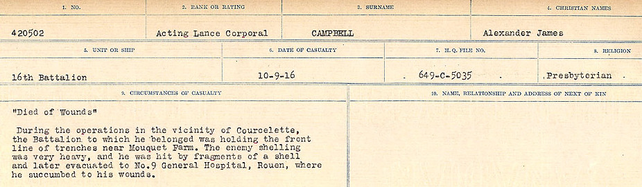 Circumstances of Death Registers– Source: Library and Archives Canada.  CIRCUMSTANCES OF DEATH REGISTERS, FIRST WORLD WAR Surnames:  Cabana to Campling. Microform Sequence 17; Volume Number 31829_B016726. Reference RG150, 1992-93/314, 161.  Page 539 of 1024.