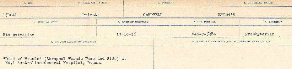 Circumstances of Death Registers– Source: Library and Archives Canada.  CIRCUMSTANCES OF DEATH REGISTERS, FIRST WORLD WAR Surnames:  Cabana to Campling. Microform Sequence 17; Volume Number 31829_B016726. Reference RG150, 1992-93/314, 161.  Page 839 of 1024