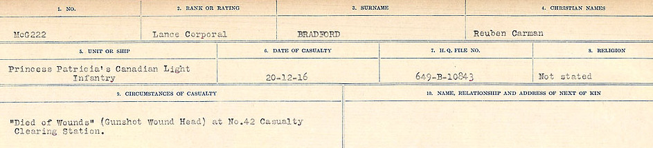 Circumstances of Death Registers– Source: Library and Archives Canada.  CIRCUMSTANCES OF DEATH REGISTERS FIRST WORLD WAR Surnames: Brabant to Britton. Mircoform Sequence 13; Volume Number 131829_B016722; Reference RG150, 1992-93/314, 156 Page 79 of 906.