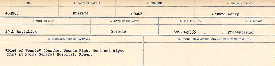 Circumstances of Death Registers– Source: Library and Archives Canada.  CIRCUMSTANCES OF DEATH REGISTERS, FIRST WORLD WAR Surnames:  CONNON TO CORBETT.  Microform Sequence 22; Volume Number 31829_B016731. Reference RG150, 1992-93/314, 166.  Page 379 of 818.