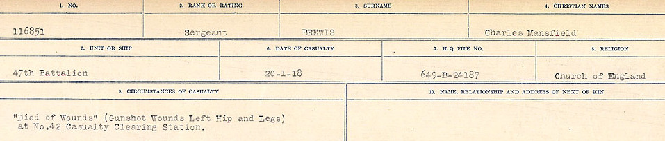 Death notice– Source: Library and Archives Canada.  CIRCUMSTANCES OF DEATH REGISTERS FIRST WORLD WAR Surnames: Brabant to Britton. Mircoform Sequence 13; Volume Number 131829_B016722; Reference RG150, 1992-93/314, 157 Page 585 of 906