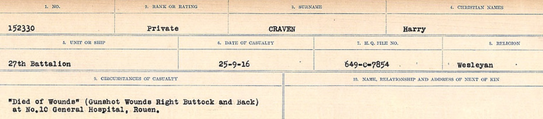 Circumstances of death registers– Source: Library and Archives Canada. CIRCUMSTANCES OF DEATH REGISTERS, FIRST WORLD WAR Surnames: CRABB TO CROSSLAND Microform Sequence 24; Volume Number 31829_B016733. Reference RG150, 1992-93/314, 168. Page 289 of 788.