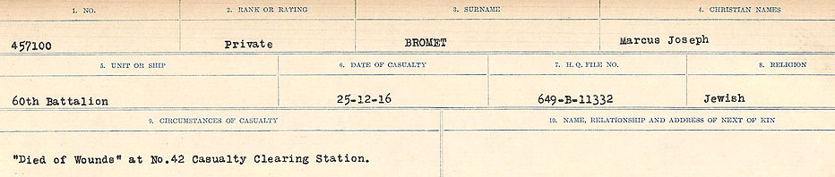 Circumstances of Death Registers– Source: Library and Archives Canada.  CIRCUMSTANCES OF DEATH REGISTERS FIRST WORLD WAR Surnames: Broad to Broyak. Mircoform Sequence 14; Volume Number 31829_B016723; Reference RG150, 1992-93/314, 158 Page 145 of 1128