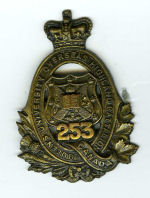 Badge– Cap Badge 253rd Bn.  Private Brown was originally a member of the 253rd Bn before being sent to the 15th Bn as a reinforcement.  Submitted by Captain (retired) Victor Goldman, 15th Bn Memorial Project.  DILEAS GU BRATH