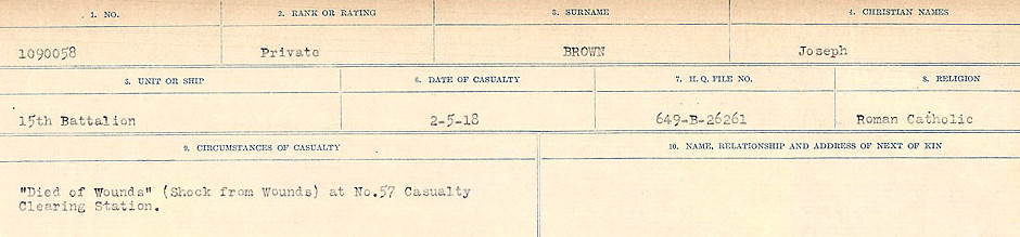 Circumstances of Death Registers, First World War– Source: Library and Archives Canada.  CIRCUMSTANCES OF DEATH REGISTERS FIRST WORLD WAR Surnames: Broad to Broyak. Mircoform Sequence 14; Volume Number 31829_B016723; Reference RG150, 1992-93/314, 158 Page 777 of 1128