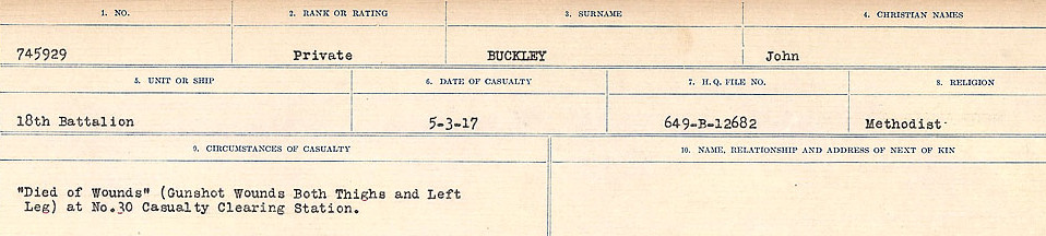 Circumstances of Death Registers– Source: Library and Archives Canada.  CIRCUMSTANCES OF DEATH REGISTERS FIRST WORLD WAR Surnames: Brubacher to Bunyan. Mircoform Sequence 15; Volume Number 31829_B016724; Reference RG150, 1992-93/314, 159 Page 413 of 668