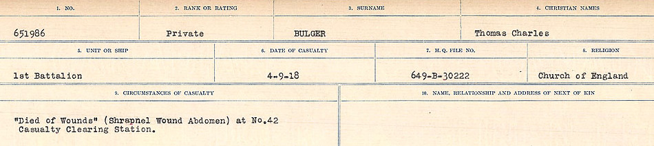Circumstances of Death Registers– Source: Library and Archives Canada.  CIRCUMSTANCES OF DEATH REGISTERS FIRST WORLD WAR Surnames: Brubacher to Bunyan. Mircoform Sequence 15; Volume Number 31829_B016724; Reference RG150, 1992-93/314, 159 Page 503 of 668