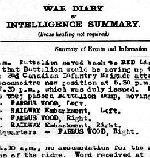 Journal – Extrait du journal de guerre du 3e bataillon pour la période du 27 au 29 avril 1917, pendant un séjour à Farbus Woods. Détails des plans pour l'attaque à Arleux. Le Lieutenant Walter Clarence Bush apparaît dans le journal comme étant blessé le 28 avril. Le 29 avril, on rapporte que le lieutenant Bush est mort le matin au poste d'évacuation sanitaire no 30 à Aubigny.